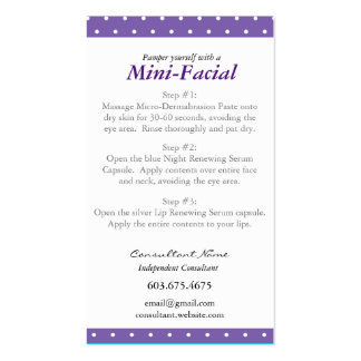 Mini Facial Instruction Card Pack Of Standard Business Cards