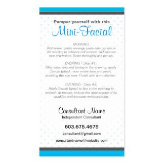 Mini-Facial Instruction Card Pack Of Standard Business Cards