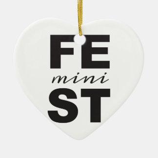 mini feminist ceramic ornament