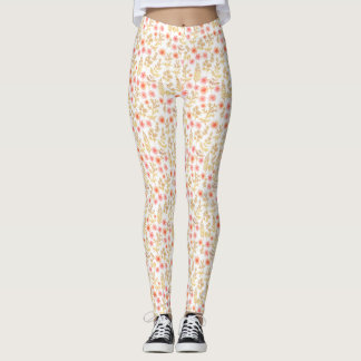 Mini Gold and Coral Florals Leggings