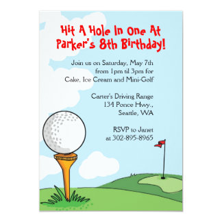 Mini-Golf themed birthday party invitations