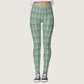 Mini Green Diamonds Gray Background Leggings