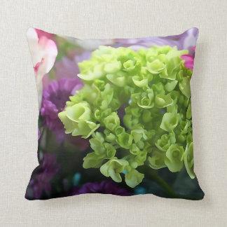 Mini Green Hydrangea Flower  Throw Pillow