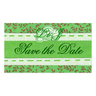 Mini Green Save the Date card Business Card Template