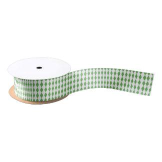 Mini Harlequin Diamonds | Green White Satin Ribbon
