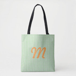 Mini Harlequin Diamonds | Green White Tote Bag