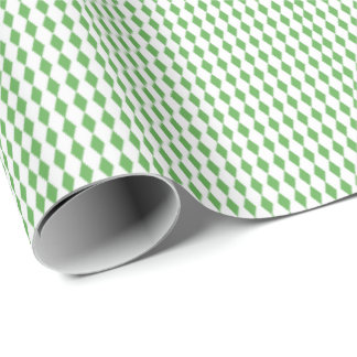 Mini Harlequin Diamonds | Green White Wrapping Paper