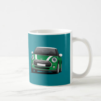 Mini Hatch Cooper (F56) 2 image mug, green - white Coffee Mug