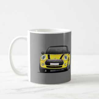 Mini Hatch Cooper S, 2 image mug, yellow - black Coffee Mug