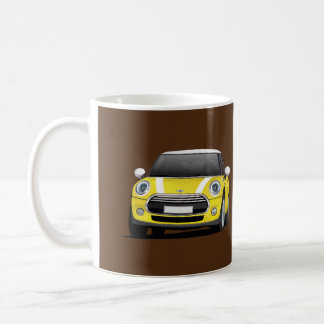 Mini Hatch Cooper S, two image mug, yellow - white Coffee Mug
