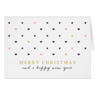 Mini Hearts & Star | Pink Gold Merry Christmas Card