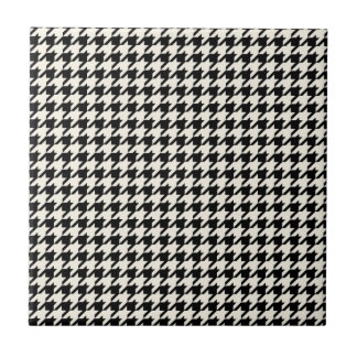 Mini Houndstooth Pattern Black and Cream Ceramic Tile