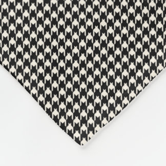 Mini Houndstooth Pattern Black and White Fleece Blanket