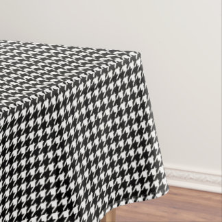 Mini Houndstooth Pattern Black and White Tablecloth
