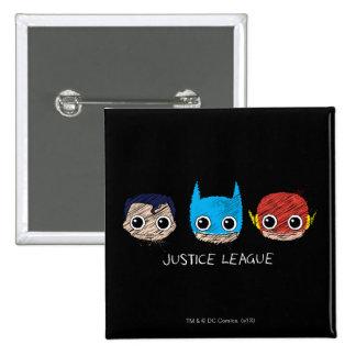 Mini Justice League Heads Sketch 15 Cm Square Badge