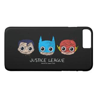 Mini Justice League Heads Sketch iPhone 8 Plus/7 Plus Case