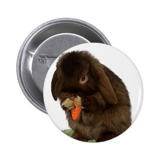 Mini Lop Bunny and carrot 6 Cm Round Badge