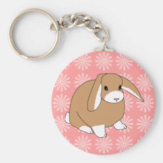 Mini Lop Rabbit Basic Round Button Key Ring