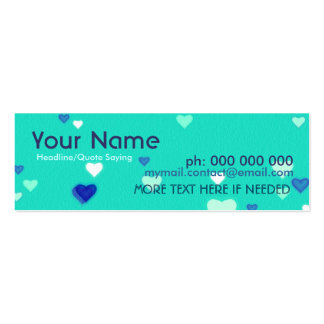 Mini Love Hearts Contact Profile Card Pack Of Skinny Business Cards