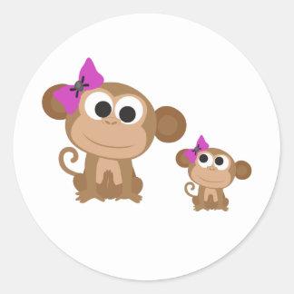 Mini me monkey round stickers