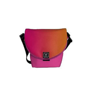 """Mini Messenger Bag: """"Pink And Orange Ombre"""" Commuter Bag"""