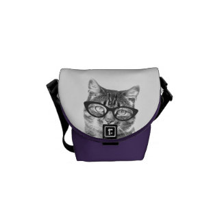 Mini messenger bag with hipster cat photo