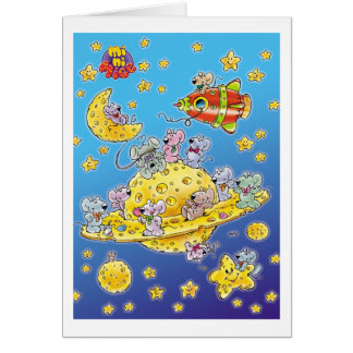 Mini Mice Lost in Space Greeting Card