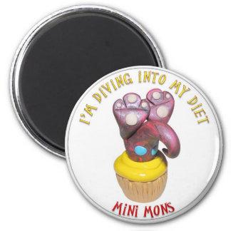 "Mini Mons ""Diving into a diet"" Magnet"