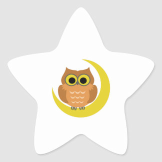 MINI OWL ON MOON STAR STICKER