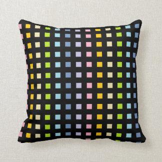 Mini Pastel Rainbow Squares Black Cushion