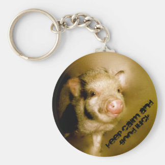 "Mini pig ""Keep calm and good luck "" Key Ring"