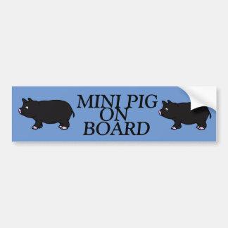 MINI PIG ON BOARD, Black Mini Pig Bumper Sticker