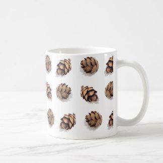 Mini Pine Cones on White Coffee Mug