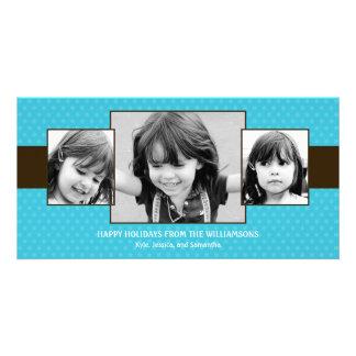 Mini Polka Dots Holiday Photo Card - Turquoise Photo Cards