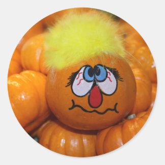 Mini Pumpkin Face Round Sticker