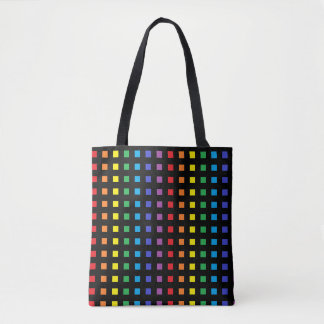 Mini Rainbow Squares Black Tote Bag