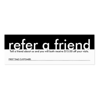 mini refer a friend pack of skinny business cards