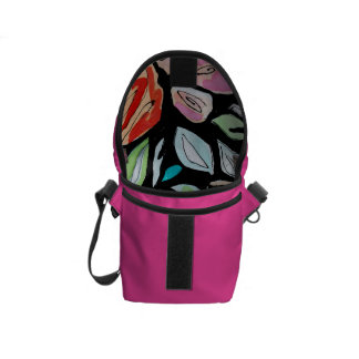 Mini Rickshaw Messenger Bag, pink, floral, black Courier Bag