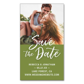Mini Save the Date Magnets Cheap | Sage Green