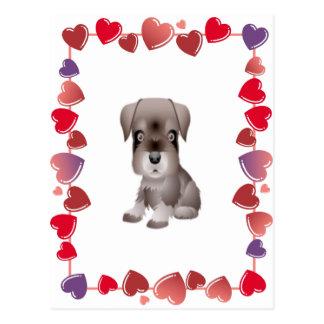 Mini Schnauzer Hearts Postcard