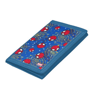 Mini Spider-Man and Web Pattern Trifold Wallets