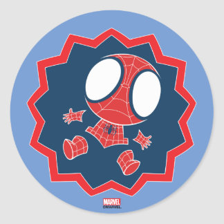 Mini Spider-Man in Callout Graphic Classic Round Sticker