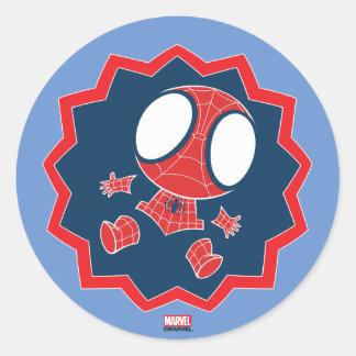Mini Spider-Man in Callout Graphic Round Sticker