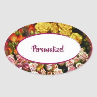 Mini Spray Roses ready to be Personalized Oval Sticker