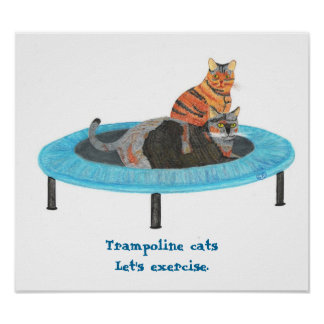 Mini Trampoline Cats, Let's exercise Posters