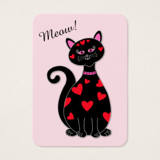 Mini Valentine Whimsical Cat Business Card
