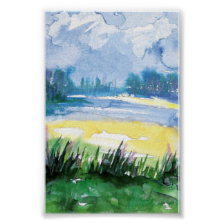 mini watercolor landscape print