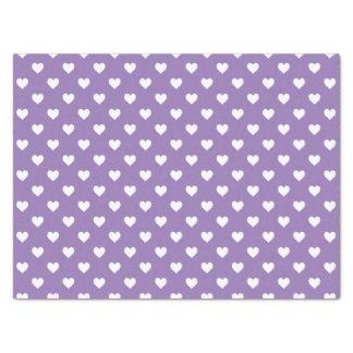 Mini White Hearts on Purple Tissue Paper