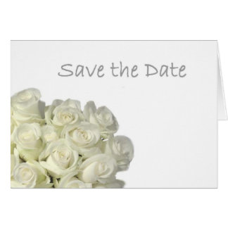 """Mini White Roses """"Save the Date"""" Card"""