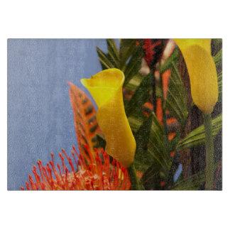 mini yellow calla lilies cutting board